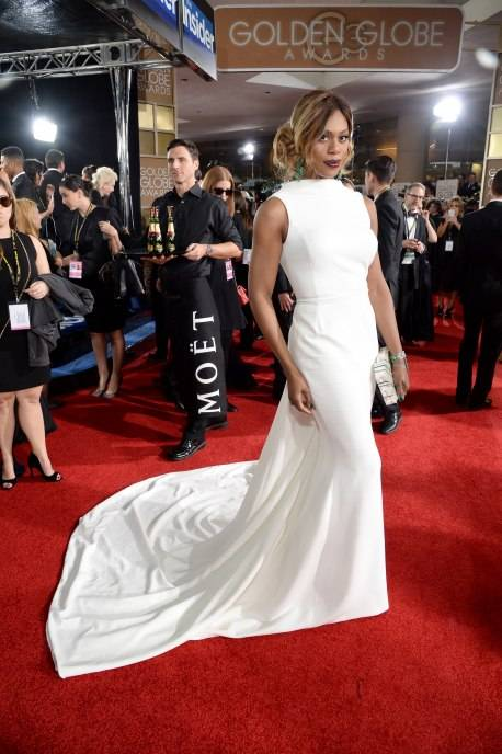 Laverne Cox attends the 73rd Annual Golden Globe Awards held at the Beverly Hilton Hotel