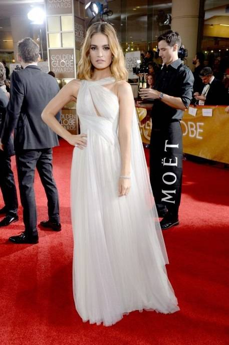 Lily James attends the 73rd Annual Golden Globe Awards