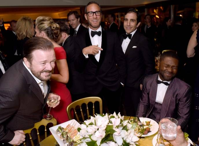 Ricky Gervais (L) and actor David Oyelowo (R) attend HBO's Official Golden Globe Awards After Party at The Beverly Hilton Hotel on January 10, 2016 in Beverly Hills, California