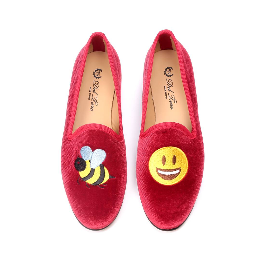 Sporting a great message and looking hot in velvet, these super happy  vibrant slippers will bring joy to your feet no matter what you choose to  wear them ...