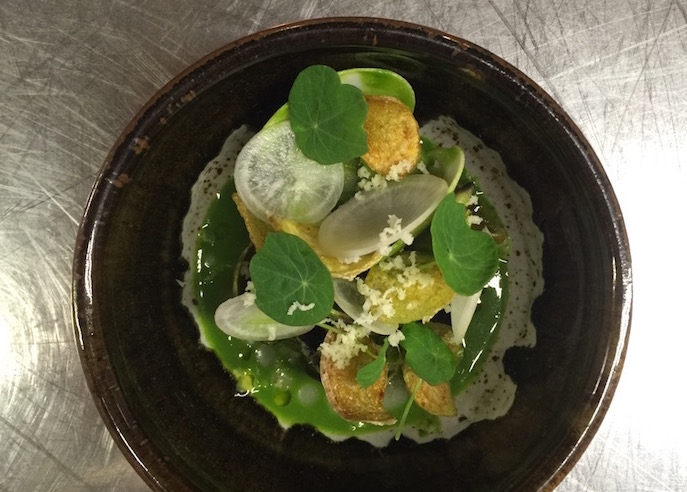Manila clams with bone marrow, young turnip, horseradish