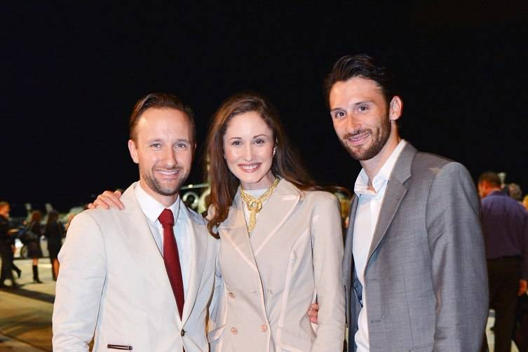 Kirill Basov, Kyleigh McCollam, Oliver Cameron-Hayes at Jet Aviation's 16th Annual La Bella Macchina ©Patrick McMullan, Photo – Patrick McMullan/PMC