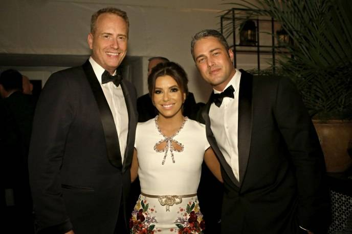 "Robert Greenblatt, Chairman, NBC Entertainment; Eva Longoria, ""Telenovela""; Taylor Kinney, ""Chicago Fire"" during NBCUniversal's Golden Globes Post-Party Sponsored by Chrysler held at the Beverly Hilton Hotel on January 10, 2016"