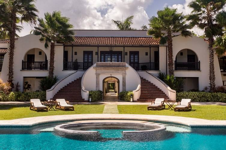 This 1920's era Spanish style home was originally built for Clara Livingston, the original owner and heiress of the property but is now an 8,000 square foot villa for guests.