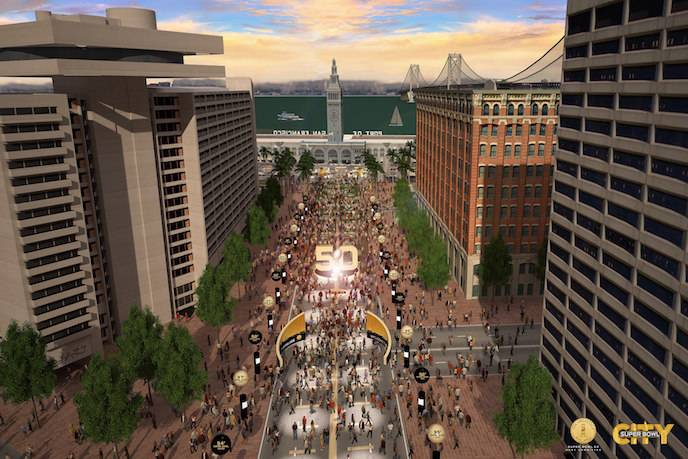 Super Bowl City rendering