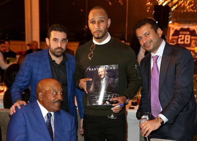 SAN FRANCISCO, CA - FEBRUARY 04:  (L-R) Former Cleveland Browns running back and NFL Hall of Famer Jim Brown, Seth Semilof, hip-hop artist Swizz Beatz, and Kamal Hotchandani attend Haute Living And Louis XIII Celebrate Jim Brown's 80th Birthday on February 4, 2016 in San Francisco, California.  (Photo by Joe Scarnici/Getty Images for Haute Living)