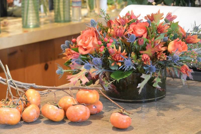 Broncos-inspired floral arrangement by Bloomers.