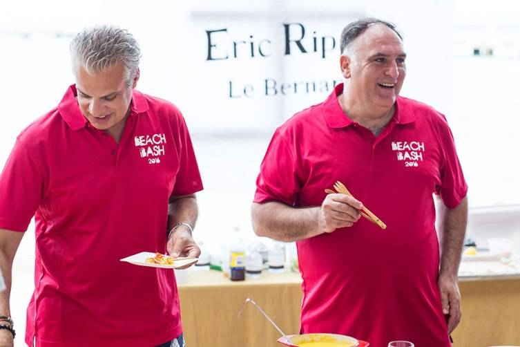 Chef Eric Ripert and Chef Jose Andres at Beach Bash