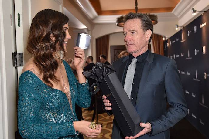 Julia Jackson and Bryan Cranston at The Weinstein Company Pre-Oscar Dinner