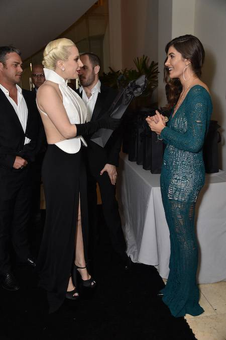 Taylor Kinney, Lady Gaga and Julia Jackson at The Weinstein Company Pre-Oscar Dinner.