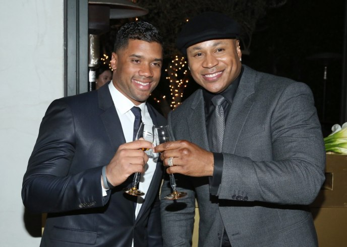 Russell Wilson and LL Cool J attend Hennessy's Grammy party