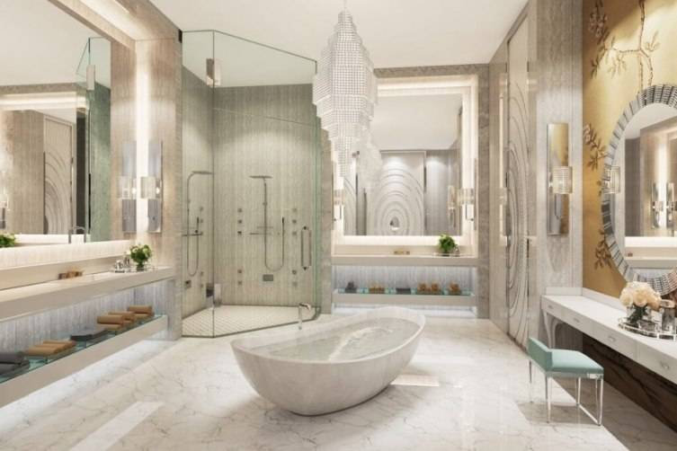 Haute estate dallas museum tower 39 s palatial penthouse Dallas design district bathroom
