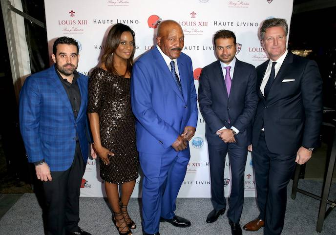 Haute Living Publisher Seth Semilof, Monique Brown, former Cleveland Browns running back and NFL Hall of Famer Jim Brown, Haute Living Publisher Kamal Hotchandani, and Vice President Louis XIII Americas, Yves De Launay attend Haute Living and Louis XIII Celebrate Jim Brown's 80th Birthday on February 4, 2016 in San Francisco, California.