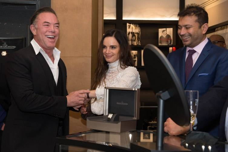 Shareef Malnik and Gabrielle Anwar with Jaeger-LeCoultre Reverso Gift