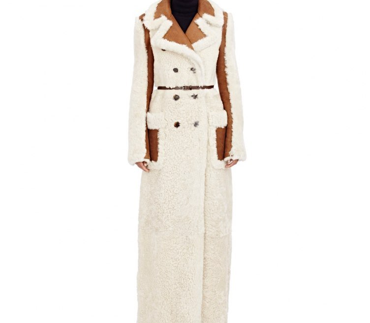 CHLOÉShearling Reversible Double-Breasted Long Coat