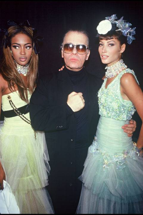 Naomi Campbell, Karl Lagerfeld and Christy Turlington at Chanel, 1992