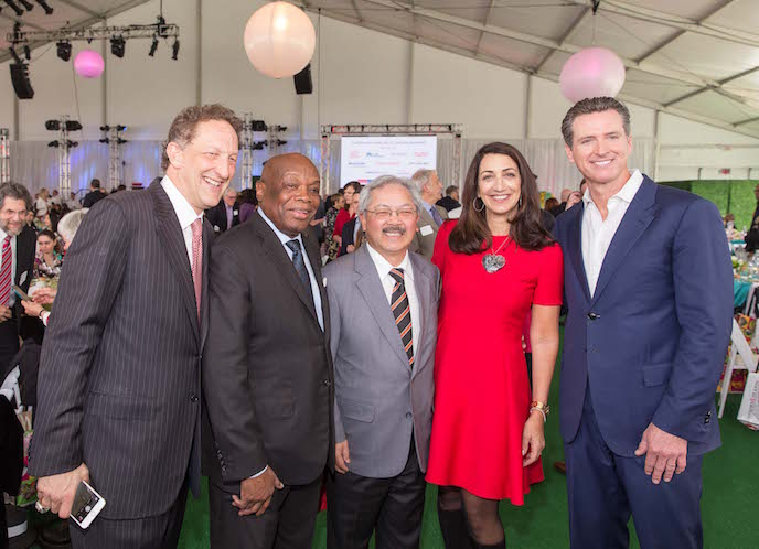 Larry Baer, Willie Brown, Ed Lee, Pam Baer, Gavin Newsom