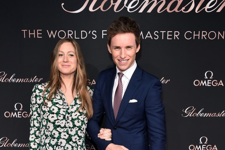 Hannah Bagshawe and OMEGA Ambassador Eddie Redmayne attends the launch of the Globemaster