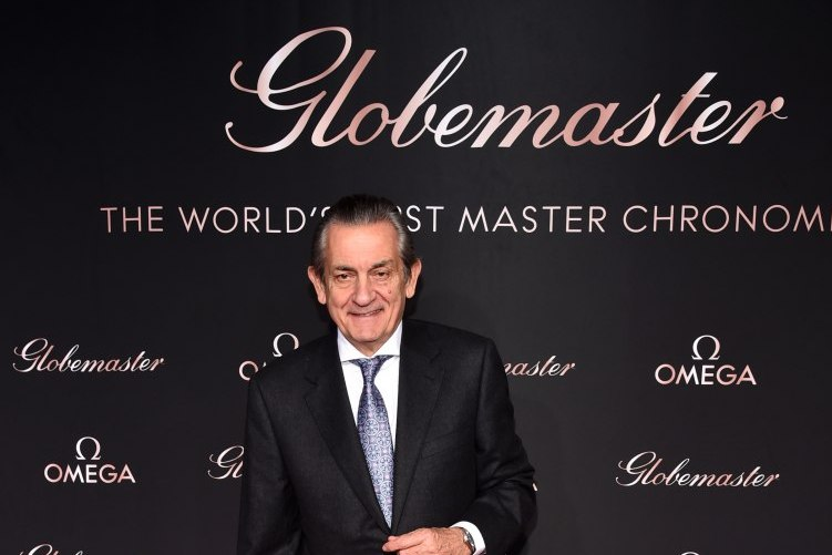 OMEGA president and CEO Stephen Urquhart attends the launch of the Globemaster