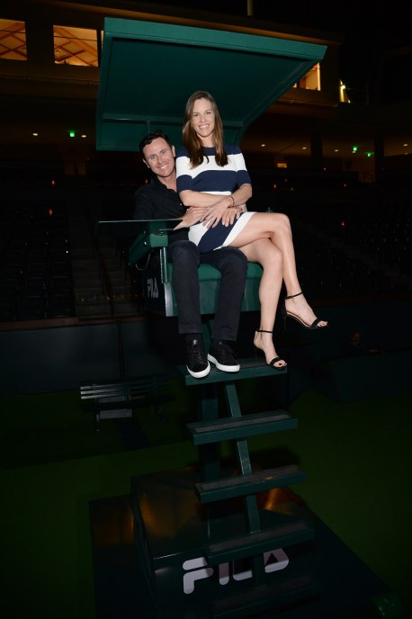 "Hilary Swank (L) and Ruben Torres attend The Moet and Chandon Inaugural ""Holding Court"" Dinner at The 2016 BNP Paribas Open"