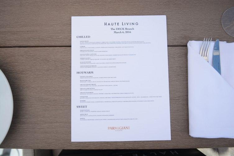 Haute Living x Parmigiani Brunch Menu at THE DECK