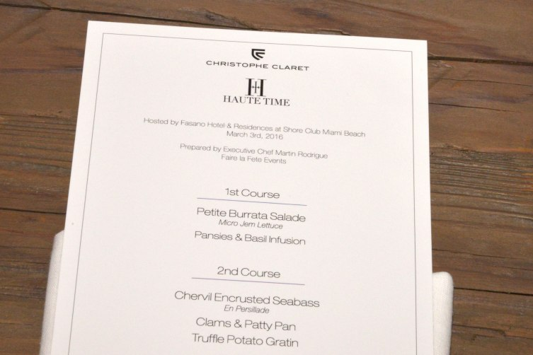 Haute Living x Christophe Claret Dinner Menu