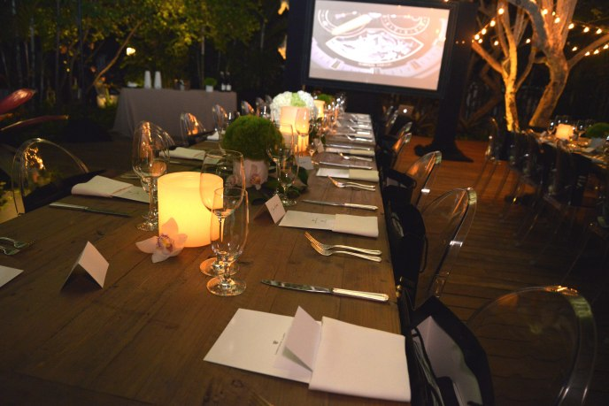 Attendees sat down for an intimate candlelit dinner outside at the impressive Fasano Hotel & Residences Sales Center