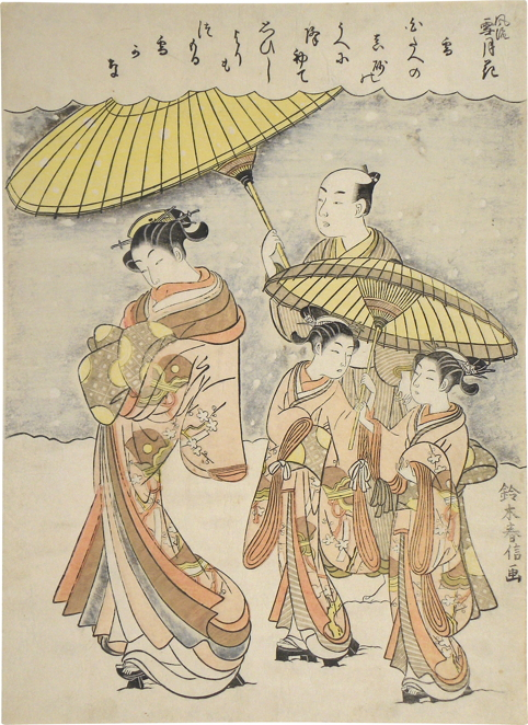 Fashionable Snow, Moon and Flowers: Snow woodblock print ca. 1768-69 by Suzuki Harunobu, Scholten Japanese Art, New York 11 by 8 in. (27.8 by 20.3 cm)