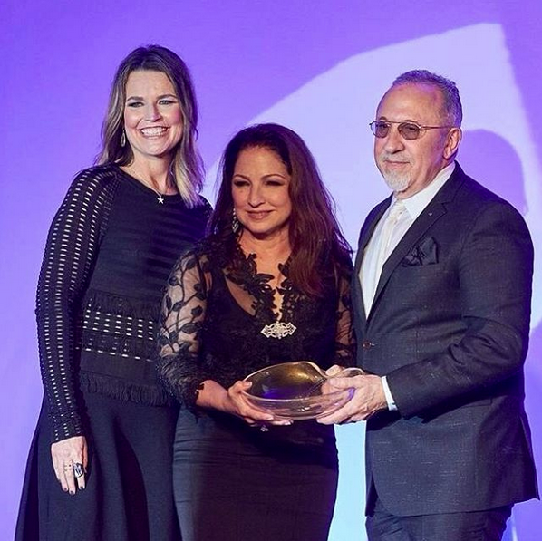 Savannah Guthrie with Gloria and Emilio Estefan