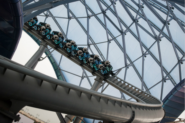 Ride testing is taking place for the thrilling, high-speed TRON Lightcycle Power Run, a first of its kind attraction for any Disney theme park around the world.