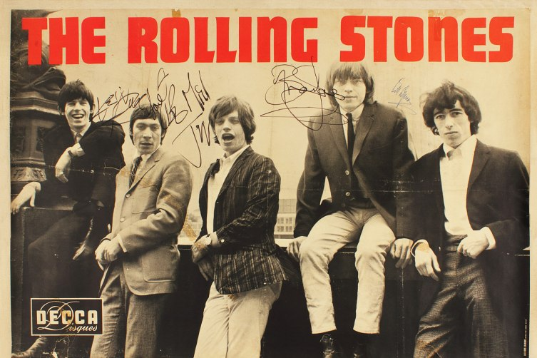 The Rolling Stones, Extremely Rare Large Signed Poster, 1964