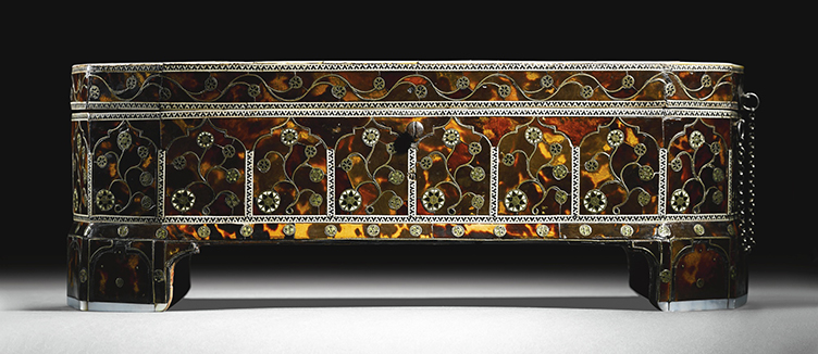 A magnificent Ottoman tortoiseshell, mother-of-pearl, ivory and brass-inlaid scribe's box, Turkey, late 16th century