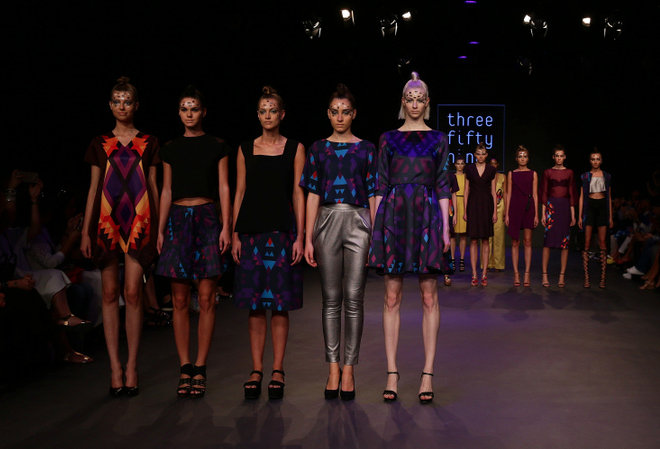 Models graced the runways during the Three Fifty Nine show at Fashion Forward Fall/Winter 2016 held at the Dubai Design District on April 2, 2016 in Dubai, United Arab Emirates.