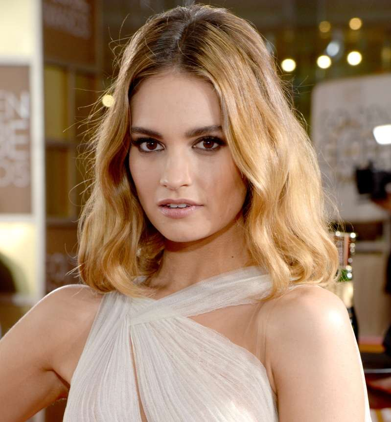 Lily James attends the 73rd Annual Golden Globe Awards held at the Beverly Hilton Hotel on January 10, 2016