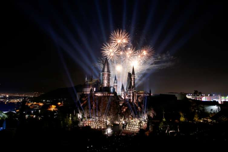 View of fireworks behind the Hogwarts Castle at the opening of the 'Wizarding World of Harry Potter' at Universal Studios Hollywood