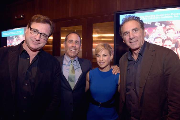 Bob Saget, host Jerry Seinfeld, GOOD+ Foundation founder Jessica Seinfeld and actor Michael Richards