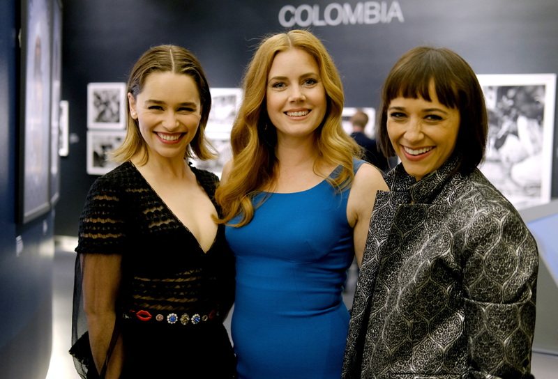 Actresses Emilia Clarke, Amy Adams and Rashida Jones attend the opening of REFUGEE Exhibit at Annenberg Space For Photography