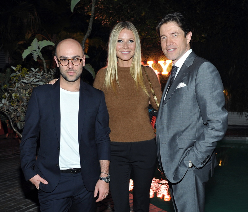 Design Director at Bally, Pablo Coppola, Gwyneth Paltrow,  and CEO of Bally, Frederic de Narp attend Bally's celebration dinner
