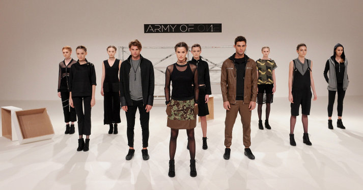 The Army of 1 Presentation at Fashion Forward Fall/Winter 2016 held at the Dubai Design District on April 1, 2016 in Dubai, United Arab Emirates.