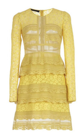 Pale Citrus Tiered Chantilly Lace Shift by Burberry.