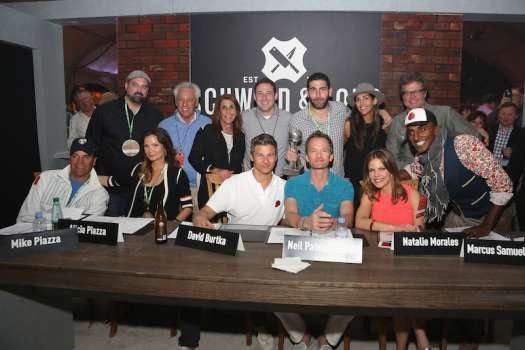 Mike Piazza, Alicia Piazza, David Burtka, Neil Patrick Harris, Natalie Morales, Chef Marcus Samuelsson and guests