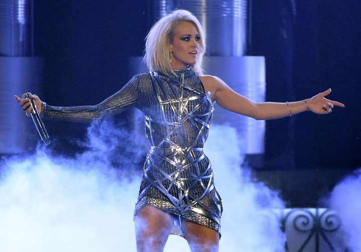 Carrie Underwood performs during the 51st Academy of Country Music Awards at MGM Grand Garden Arena