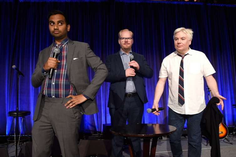 Jim Gaffigan, Mike Myers and Aziz Ansari speak onstage at the Can Do Awards