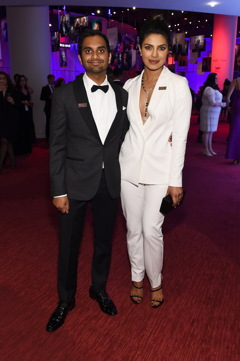 Aziz Ansari and Priyanka Chopra attend 2016 Time 100 Gala, Time's Most Influential People In The World red carpet at Jazz At Lincoln Center at the Times Warner Center on April 26, 2016 in New York City.