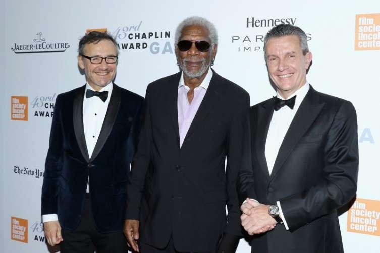 Laurent Vinay, Morgan Freeman, and-Daniel Riedo at the gala.