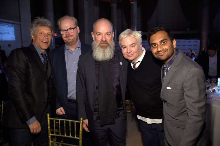 Jon Bon Jovi, Jim Gaffigan, Michael Stipe, Mike Myers and Aziz Ansari attend Food Bank Of New York City's Can Do Awards 2016 hosted by Michael Strahan and Mario Batali in New York City. (All photos by Kevin Mazur/Getty Images for Food Bank of New York City.