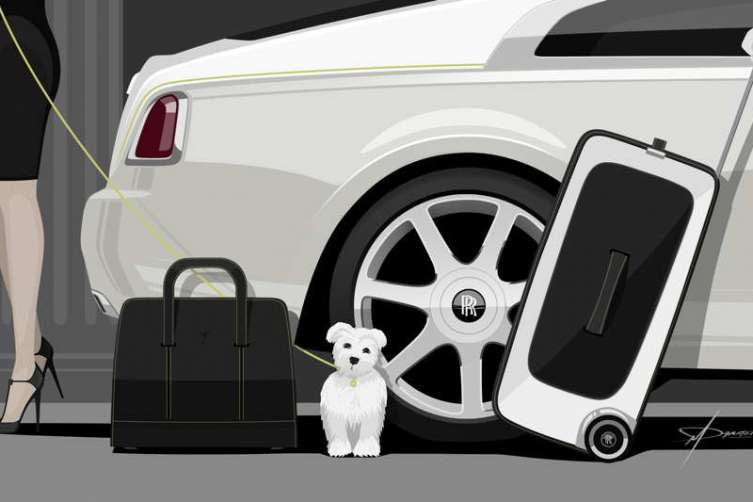Rolls-Royce Wraith Luggage Collection Theme Sketch by Matt Danton