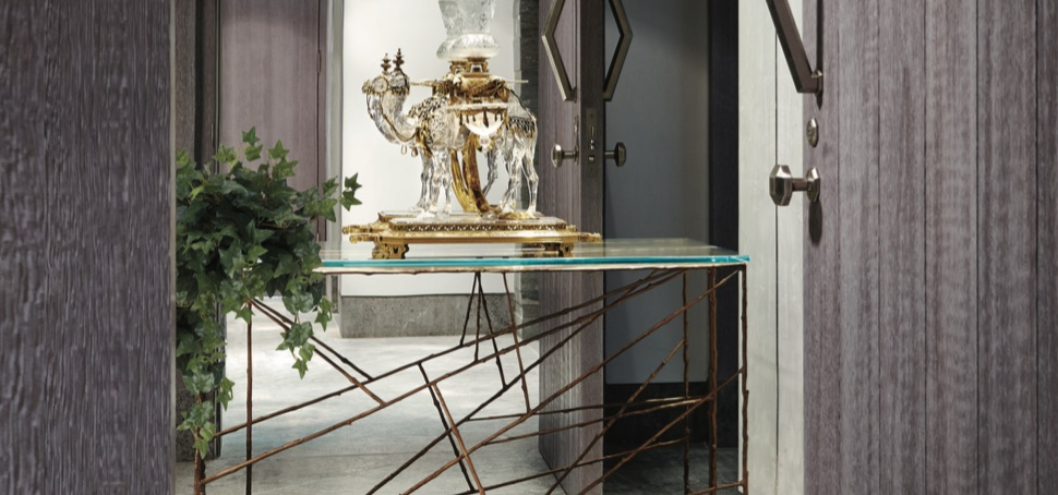 "Through the entry door of a 15,000-square-foot high-rise pent- house in Jerusalem is an immaculately detailed crystal camel by Baccarat: ""Le Vaisseau du Désert."""