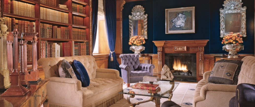 A London townhouse, in which Geoffrey Bradfield integrated Persian-influenced detailing of marble floors bordered with a lapis-and-ivory Persian mosaic, was designed for a Persian princess in Eaton Square.