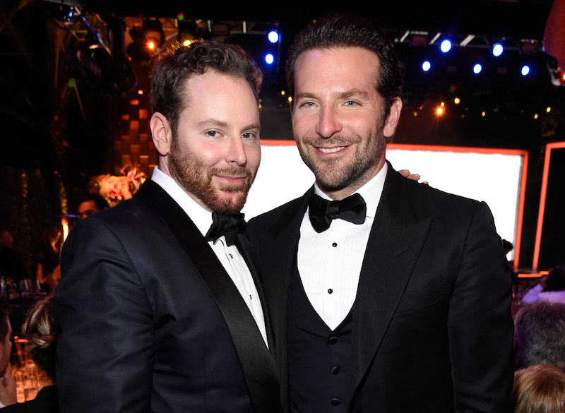 Host Sean Parker (L) and actor Bradley Cooper attend the launch of the Parker Institute for Cancer Immunotherapy